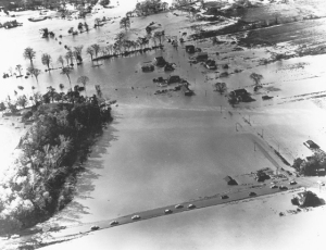 hurrican hazel - aerial flood