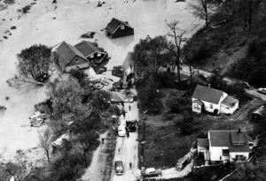 Aerial view of Hurricane Hazel's devastation when the Humber River floded.