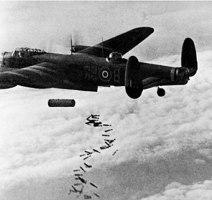 Avro Lancaster bomber unloads its payload of bombs somewhere over Germany