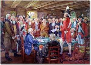 The First Legislature of Upper Canada, 1955 F. S. Challener (1869-1959) The standing figure is John Graves Simcoe, Lieutenant Governor of Upper Canada