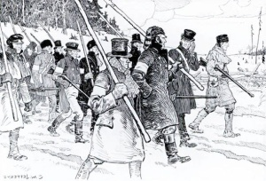 "Drawing by C.W. Jeffreys. ""Rebellion of Upper Canada, 1837."""