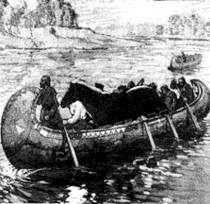 A rendering of Fireaway being brought down the chain of rivers and lakes to the Selkirk Settlement.