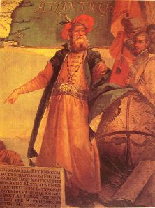 John Cabot in traditional Venetian garb by Giustino Menescardi (1762). A mural painting in the Sala dello Scudo in the Palazzo Ducale, Venice.