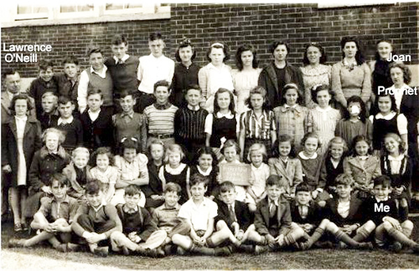 Pefferlaw Public  school (S.S. #9, Georgina) with the class of 1945. (By the way, That's me in front).