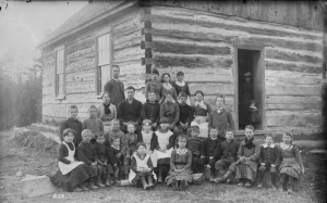 Teacher and students, Muskoka Lakes, Ontario, 1887