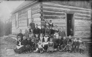 Teacher and students, Muskoka Lakes, Ontario, 1887