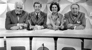 The cast of Front Page Challenge. Left to right: Pierre Burton, Fred Davis (host), Betty Kennedy, and Gordon Sinclair