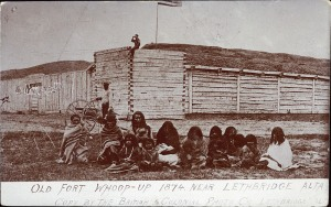 "The exterior of Fort ""Whoop-Up"" around 1873-4. Notice the trade flag flying above the turret.;"