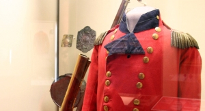 Isaac Brock's coat he was wearing at the time of his death. Note the bullet hole.