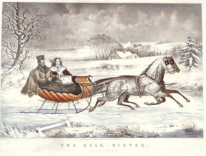 """Courier and Ives - """"A Road Winter."""" Winter was actually best for travel."""