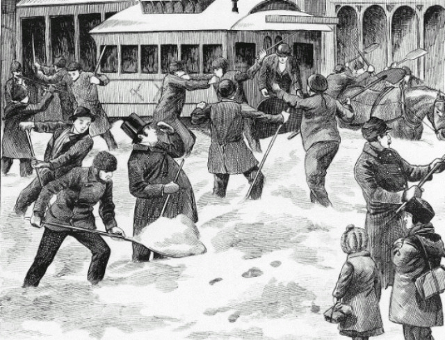 The Fight Between the Storekeepers and the Company's Employees by W.N. Langton in the Canadian Illustrated News of February 12, 1881.