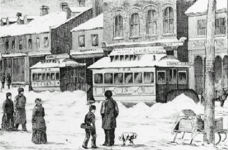 The Blockaded Cars After the Battle Toronto. Snowing up the Toronto Street Car Company by W.N. Langton in the Canadian Illustrated News of 12 February 1881.