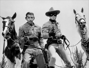 Jay Silverheels with Clayton Moore as the Lone Ranger.