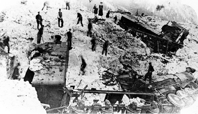 The wreckage following the disastrous, Rogers Pass Avalanche that killed 56 men.