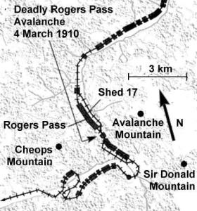 A map showing the 'snow sheds' and where the avalanche struck.