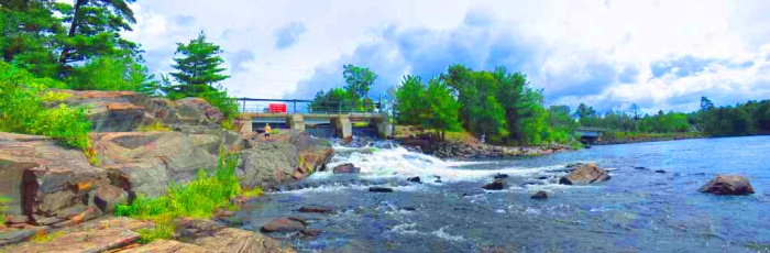 Beautiful and historic Bala Falls, visited by the Canadian explorer David Thompson in 1837 - on his way to discover a North West passage.