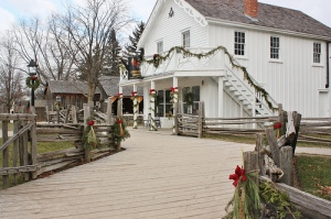Christmas in a pioneer village. The general store with its display of candies was always a popular spot for children.